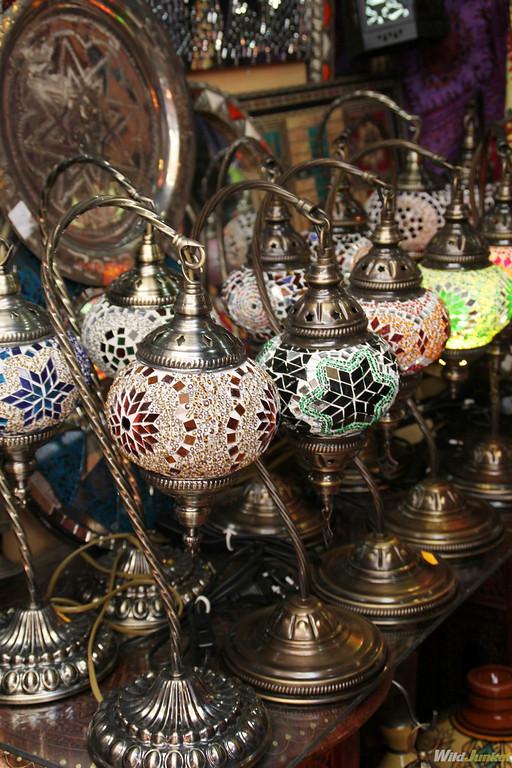 Colorful Arabic lamps in the Alcaiceria