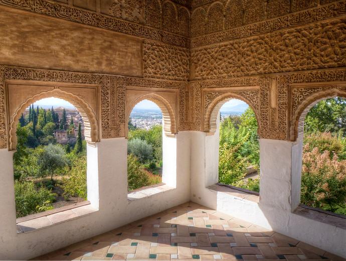 alhambra windows granada spain