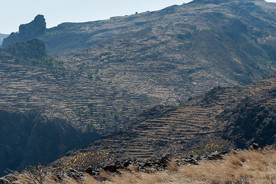 Wide shot of rock formation in La Gomera, Spain