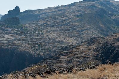Wide shot of rock formation in La Gomera, Spain