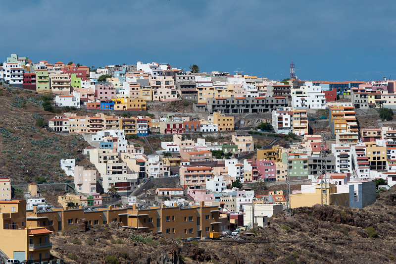 Shot of the houses in San Sebastian - La Gomera, Spain