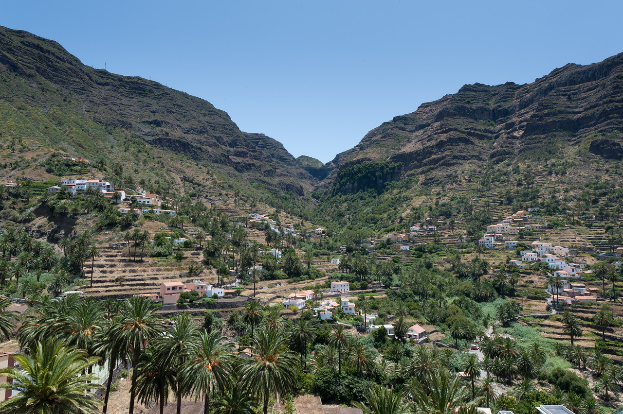 Wide shot of the scenery in La Gomera, Canary Islands, Spain
