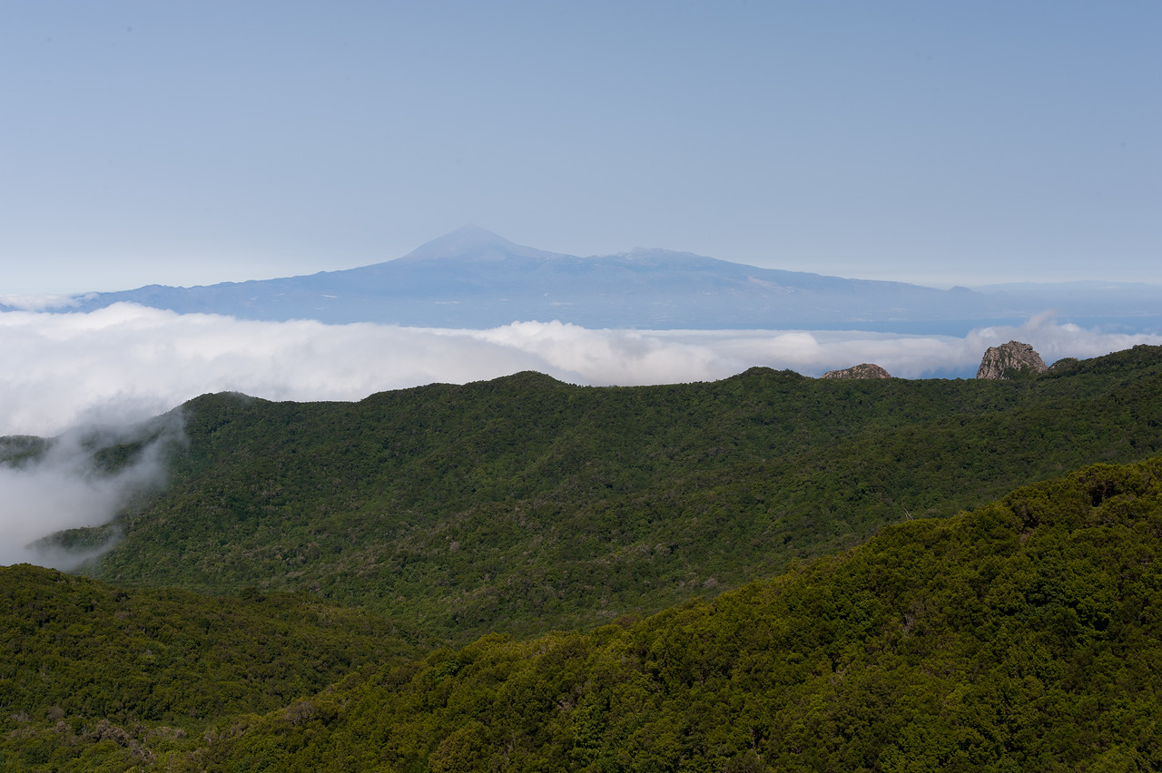 Fog and mountain covering La Gomera in Spain