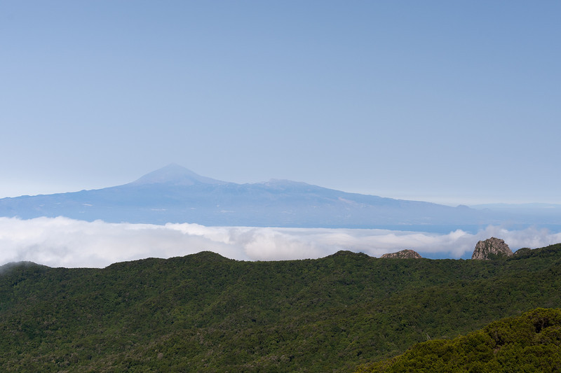 Fog spilling over the mountain in La Gomera, Spain