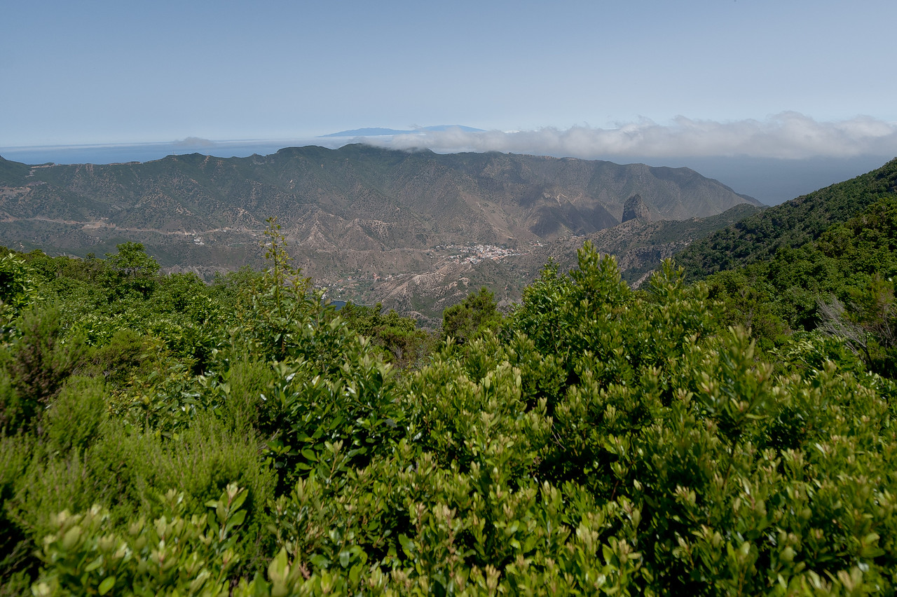 Overlooking view of the mountains in La Gomera, Spain