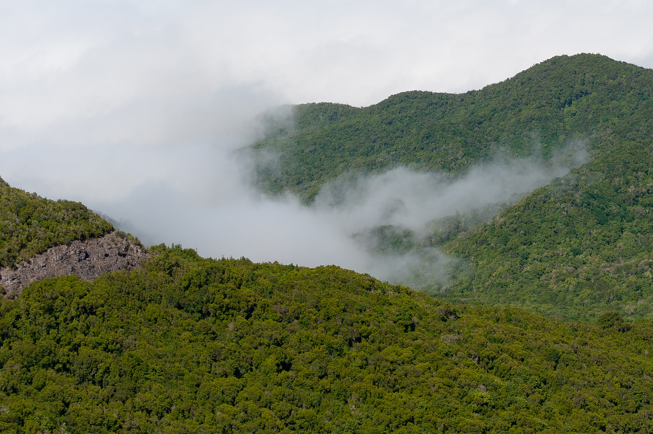 Fog covering the mountains in La Gomera, Spain