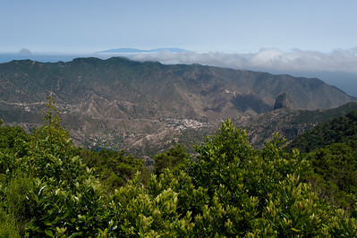 Overlooking view of the mountain in La Gomera, Spain