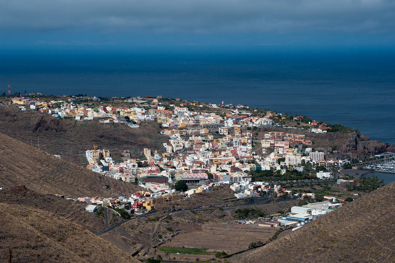 Overlooking view of San Sebastian in La Gomera, Spain