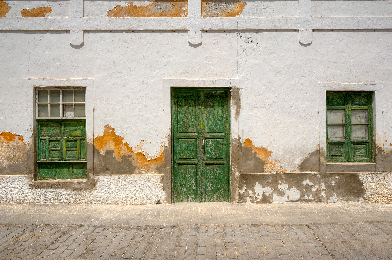 Facade of an old building in the village of Teguise in Lanzarote, Spain