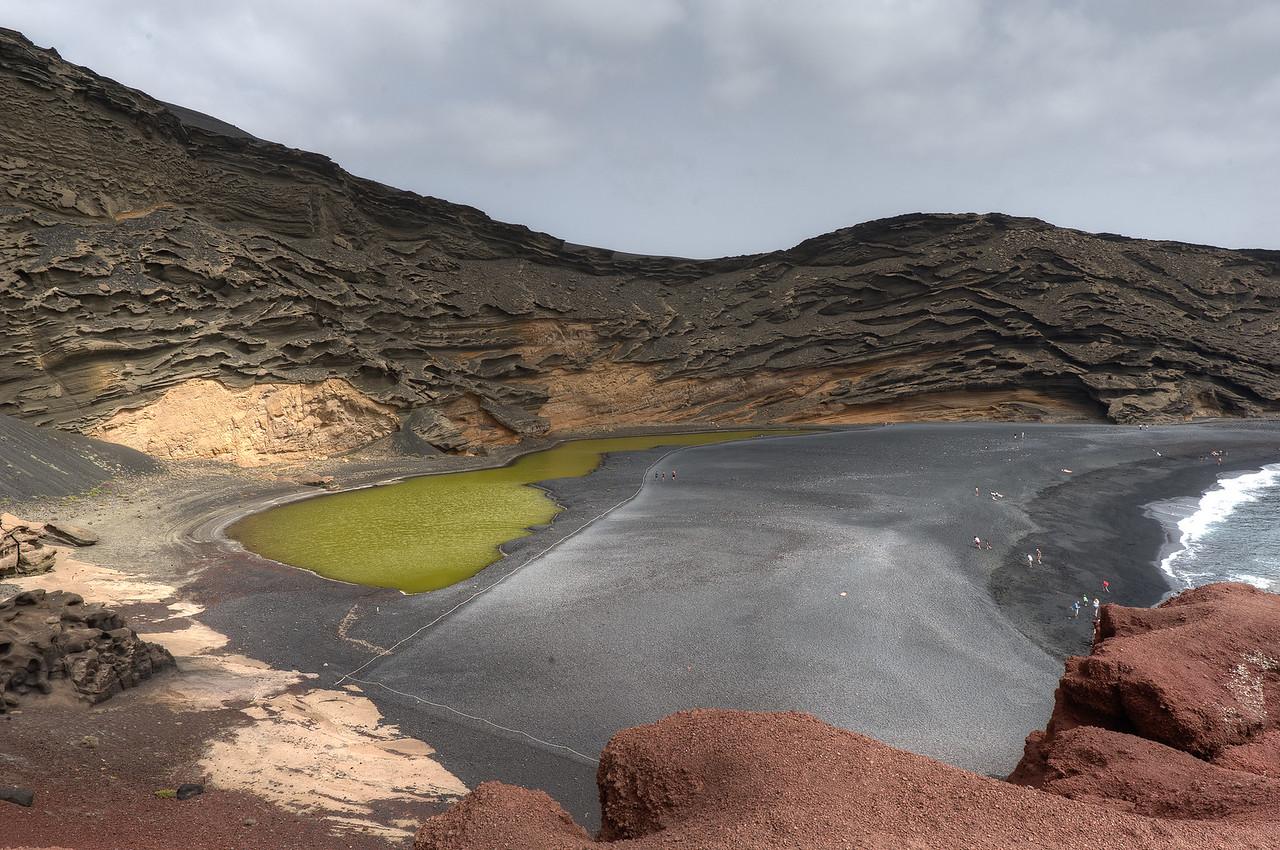 Crater and laguna in El Golfo - Lanzarote, Spain