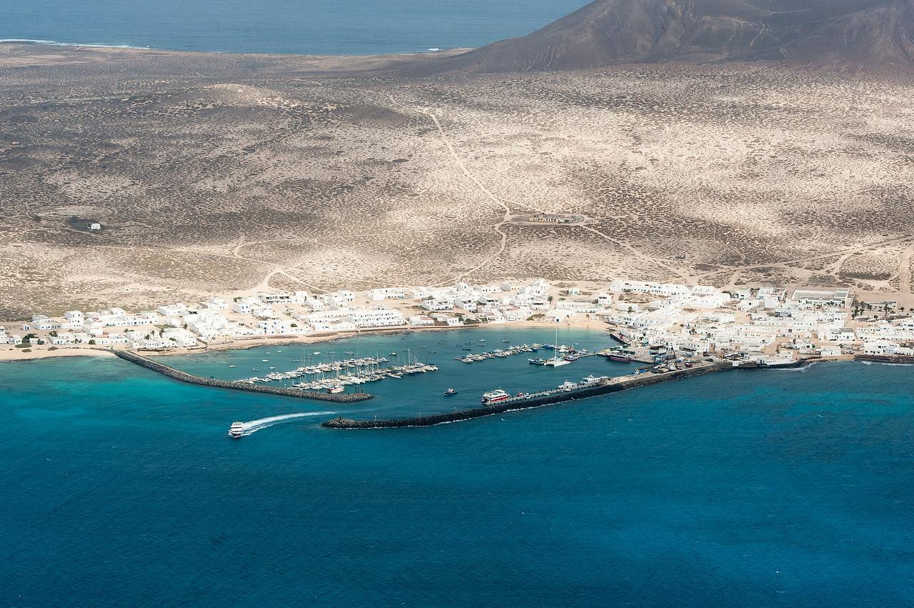 The port in the island of La Graciosa in Canary Islands, Spain