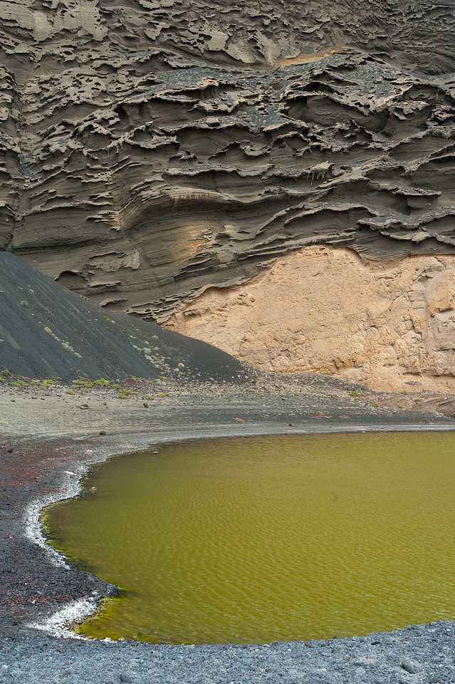 Crater and laguna in El Golfo, Lanzarote, Spain