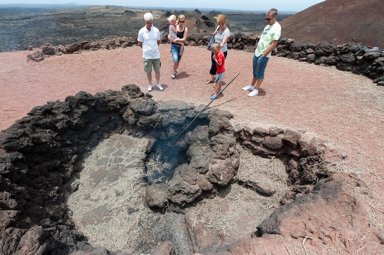 A volcanic geyser in Timanfaya National Park - Lanzarote, Spain