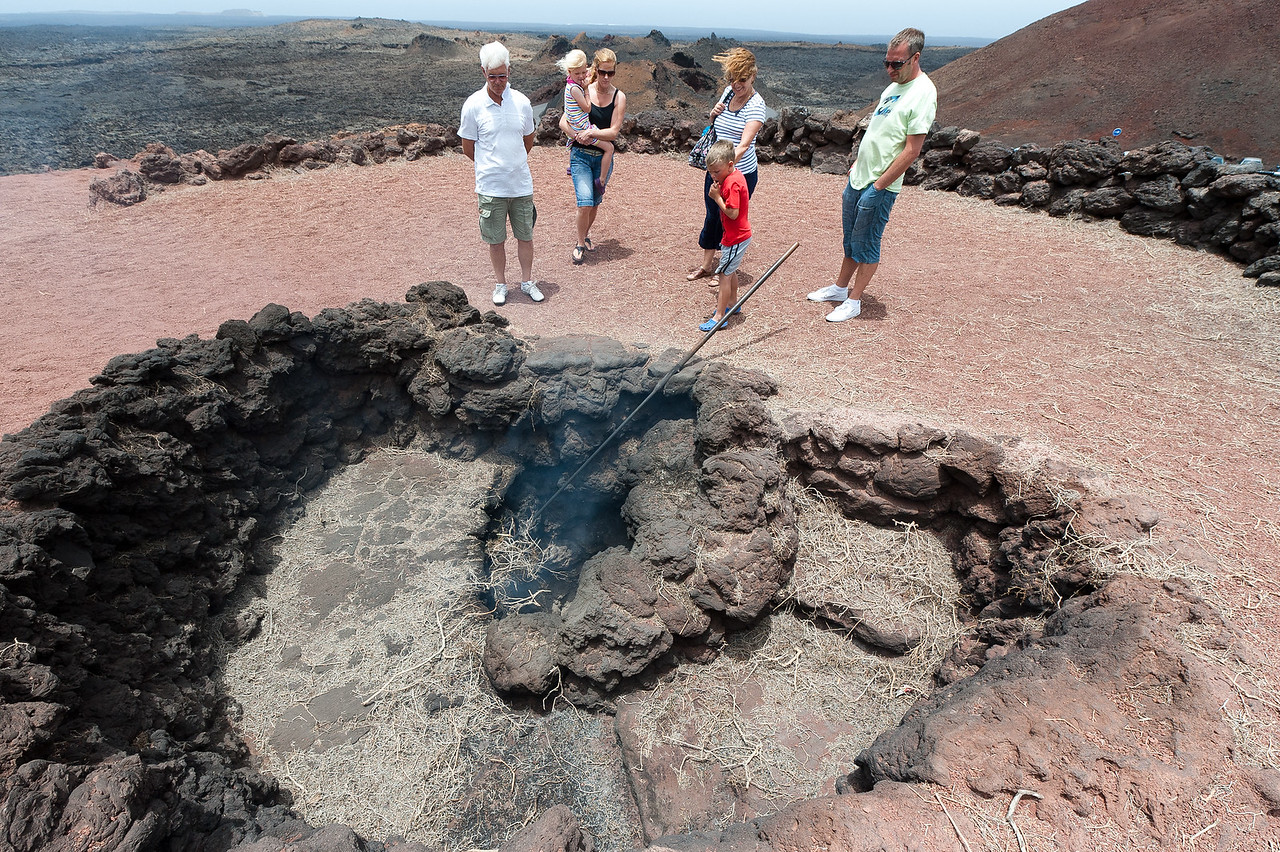 A volcanic geyser in Timanfaya National Park - Lanzarote, Spain