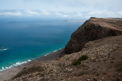 Cliffs and coastline at Lanzarote Island in Spain