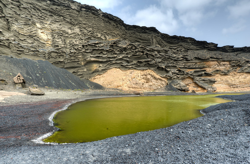 Green water in the El Golfo crater on the island of Lanzarote