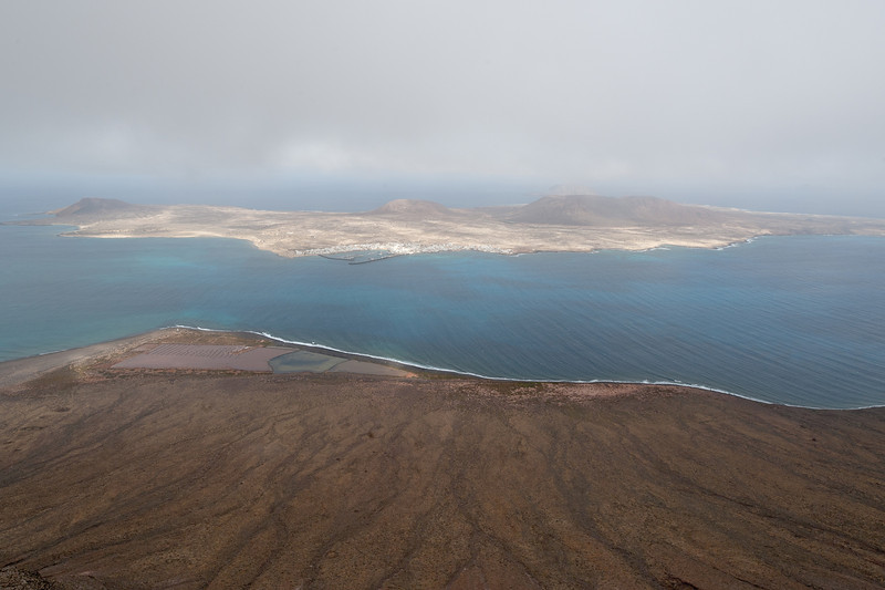 View of La Graciosa island from the island of Lanzarote in Spain