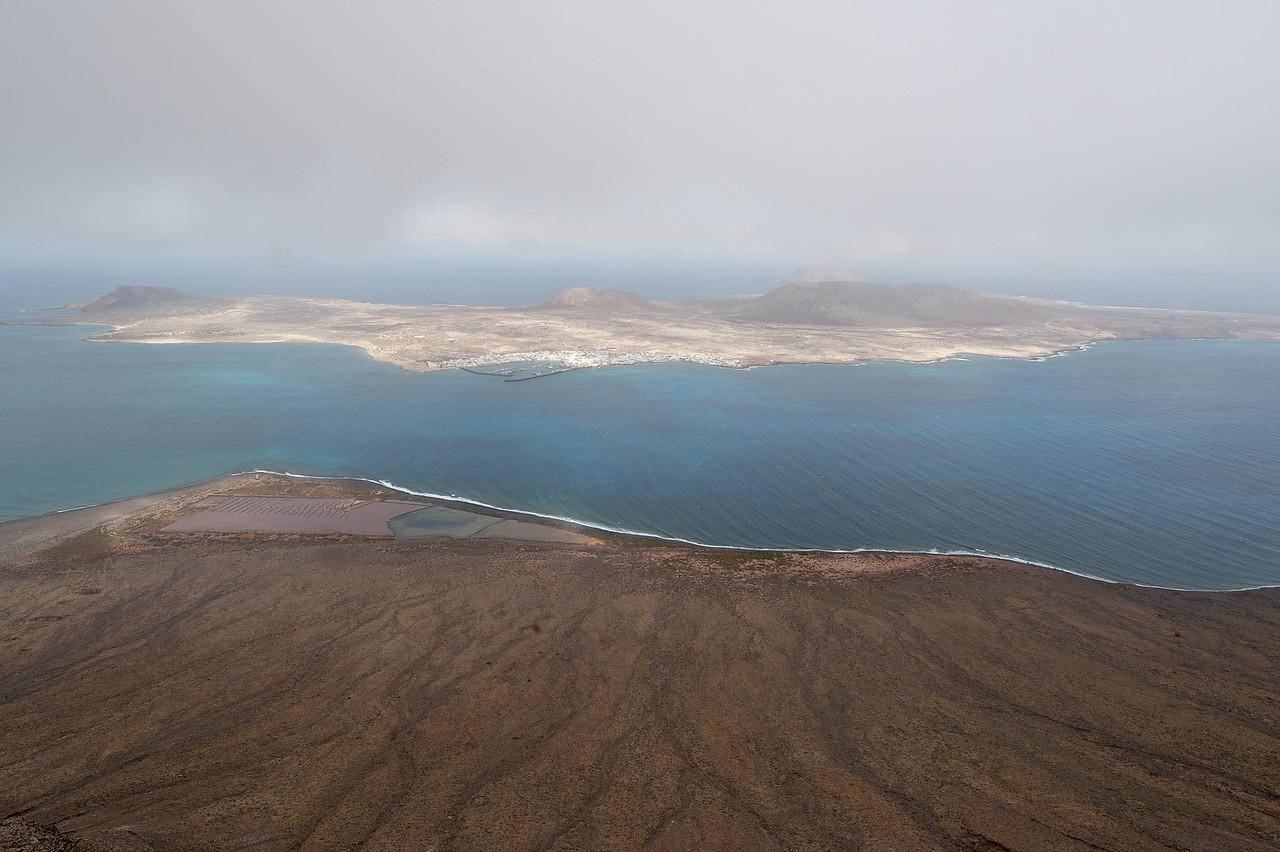 View of La Graciosa island from the island of Lanzarote in Spain