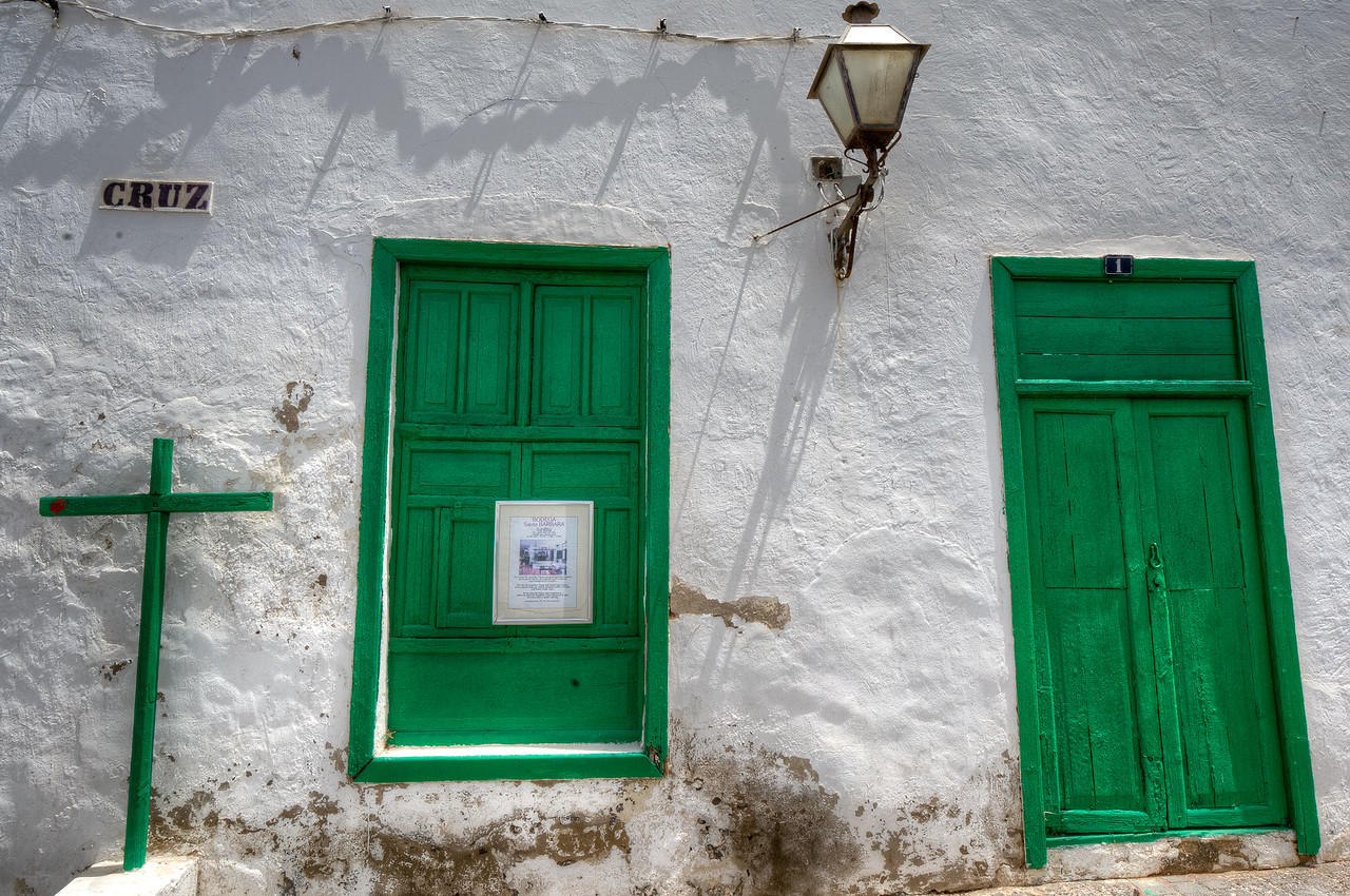 Green windows and doors in the village of Teguise, Lanzarote Island, Spain