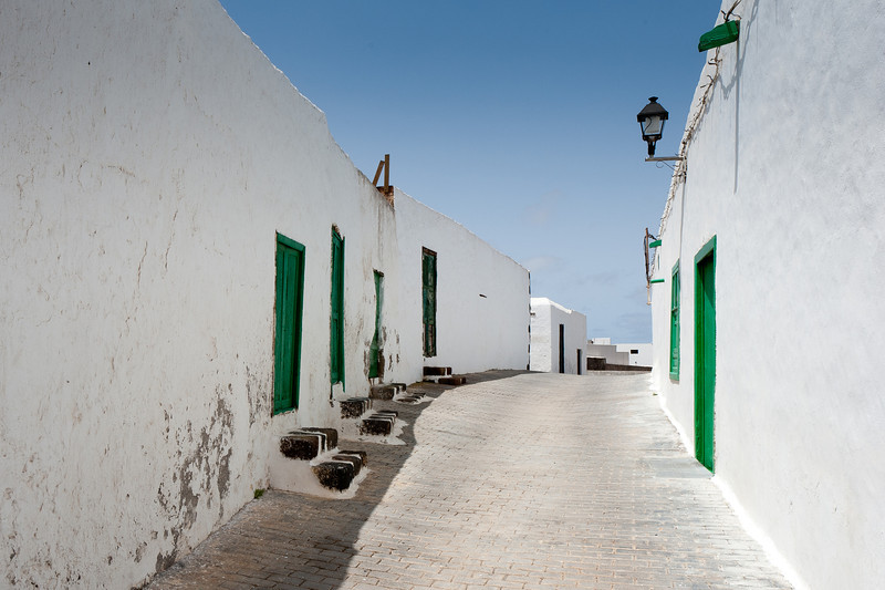Empty alley in Teguise village in Lanzarote, Spain