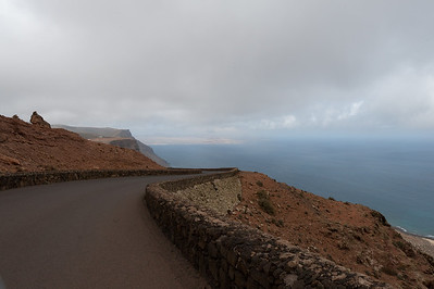 The paved road in Lanzarote island in Spain