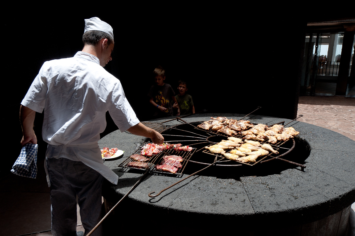 Cooking over a volcano on the island of Lanzarote, Canary Islands