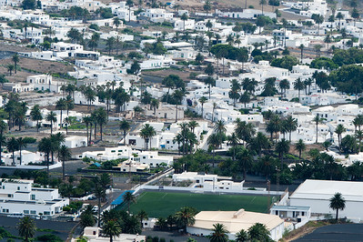 Houses and buildings in a village in the island of Lanzarote, Spain