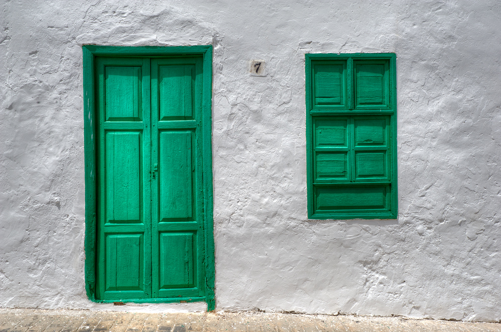 A green door on the island of Lanzarote in the Canary Islands