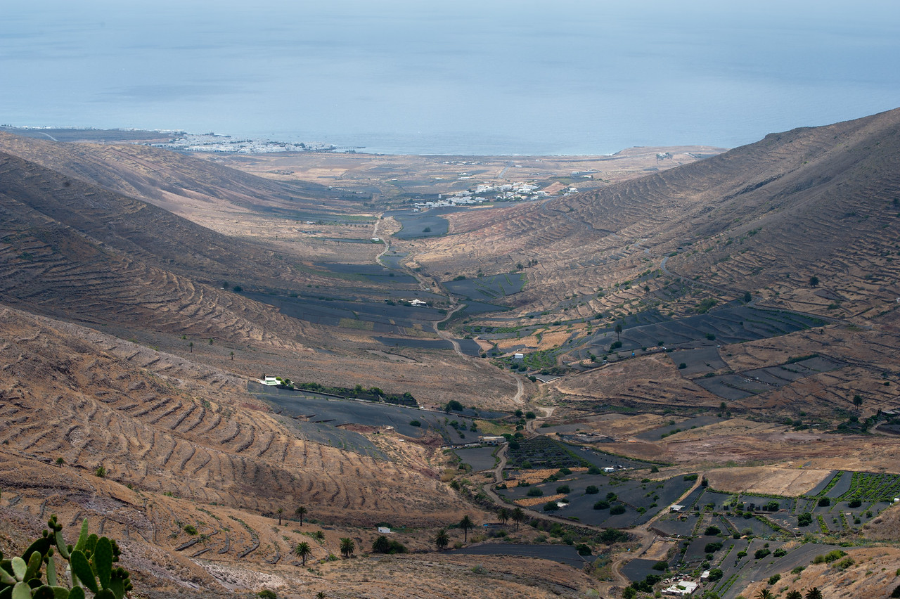 View to small village in valley in Lanzarote, Spain