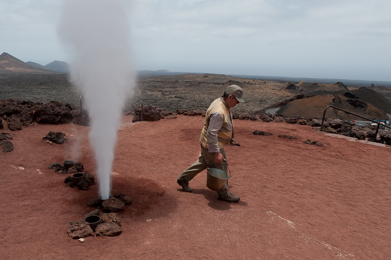 Geysers in Timanfaya National Park, Lanzarote, Spain
