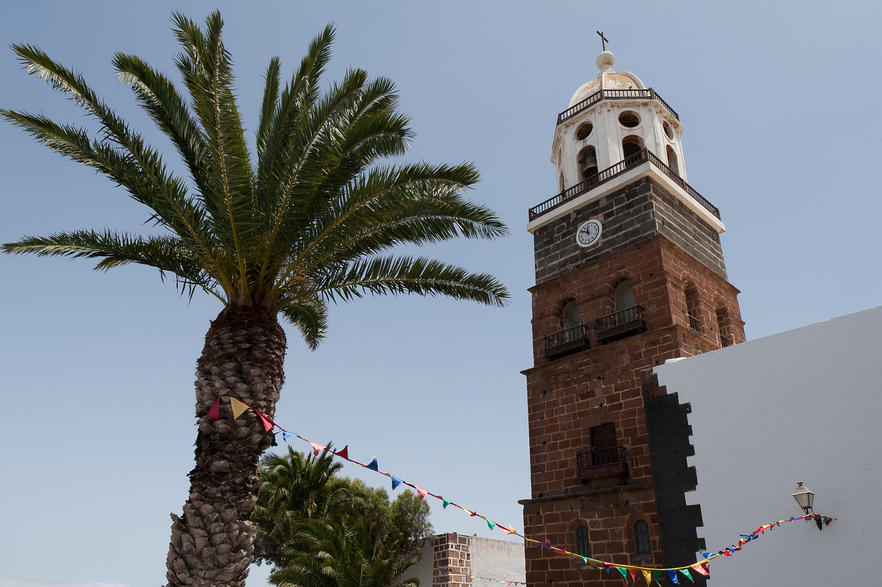Tower of the Church of Nuestra Senora de Guadalupe in Teguise, Lanzarote Island, Spain