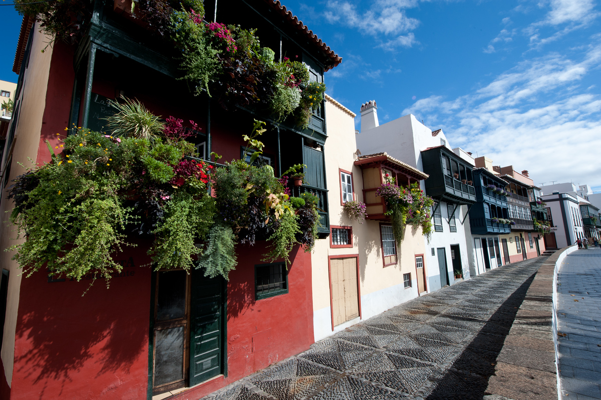 Facades and Balconies in Santa Cruz de la Palma, Canary Islands