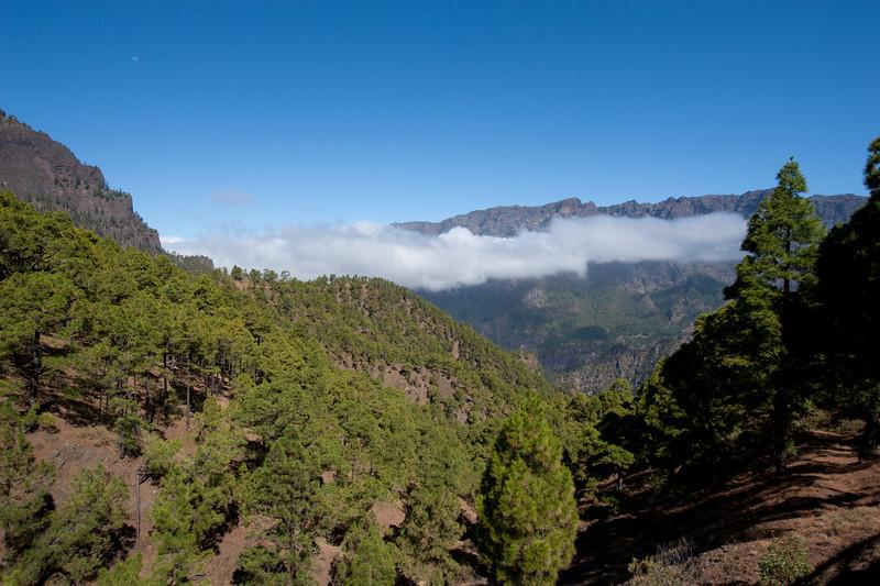 Overlooking view from Caldera de Taburiente National Park in La Palma, Spain