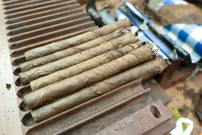 Roll of cigars in El Sitio Cigar Factory in La Palma, Spain