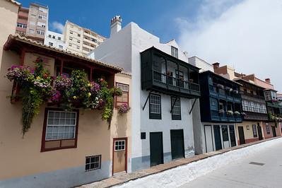 Balconies and facades in La Palma, Spain