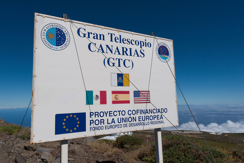 European Union sign at Gran Telescopio Canarias in Spain