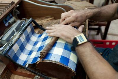Tobacco made by hand in El Sitio Cigar Factory in La Palma, Spain