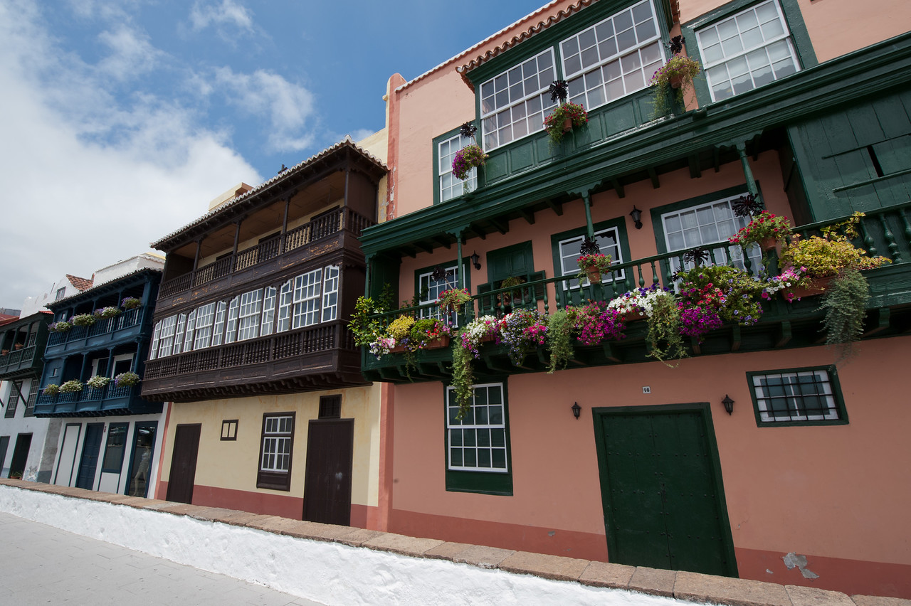 Balconies and facades in La Palma, Canary Islands, Spain