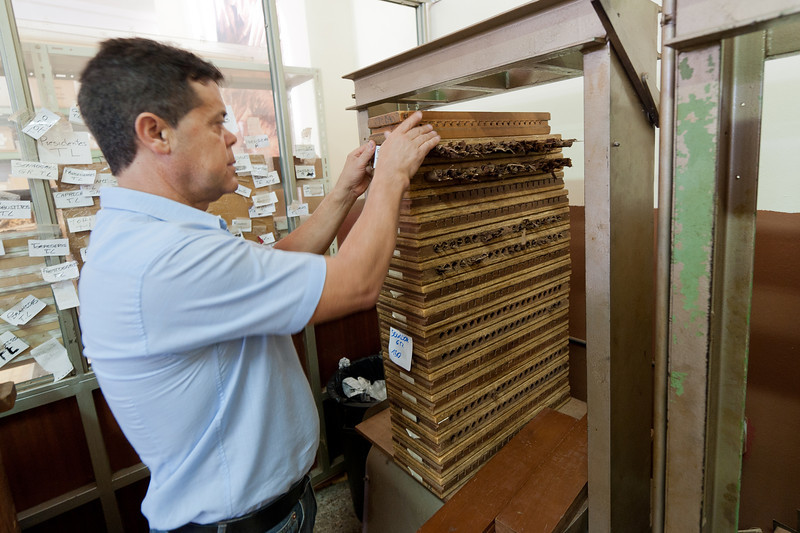 Stacks of tobacco in El Sitio Cigar Factory in La Palma, Spain