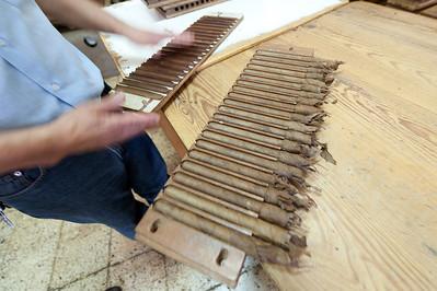 Tobacco cigar made by hand in El Sitio Cigar Factory in La Palma, Spain