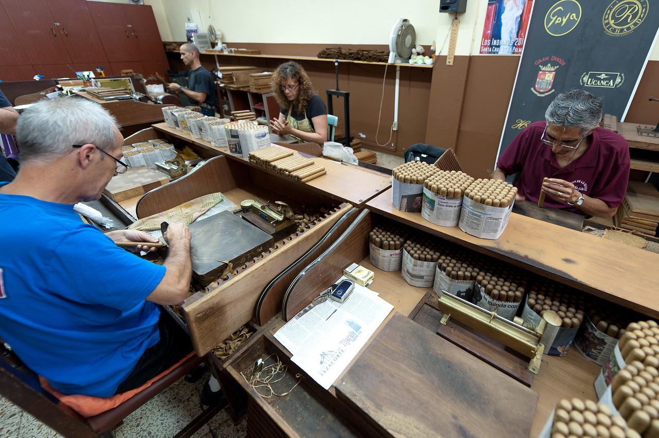 Workers preparing tobacco in La Palma, Spain