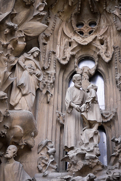 The Nativity façade of La Sagrada Familia in Barcelona, Spain