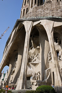 The long lines of the Passion façade; La Sagrada Familia in Barcelona, Spain