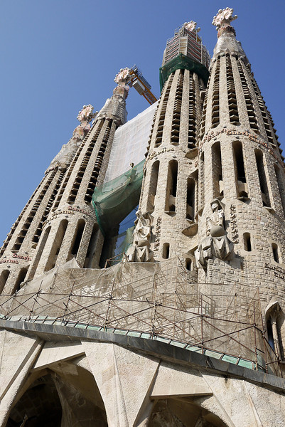 The tall spires of La Sagrada Familia in Barcelona, Spain