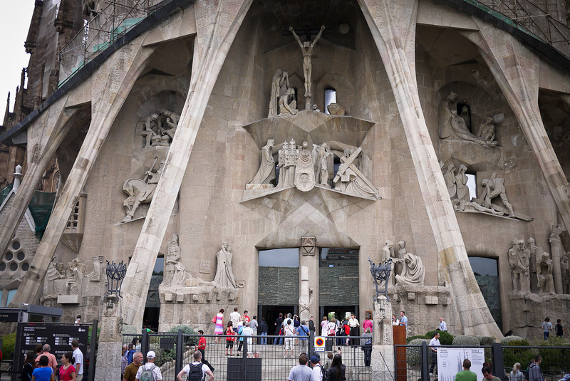Entering La Sagrada Familia in Barcelona, Spain