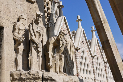 The Passion façade of La Sagrada Familia in Barcelona, Spain