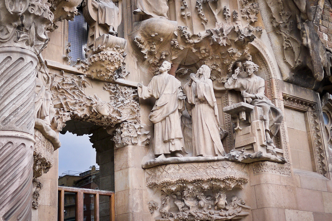 Gaudi oversaw the construction of this façade of La Sagrada Familia in Barcelona, Spain