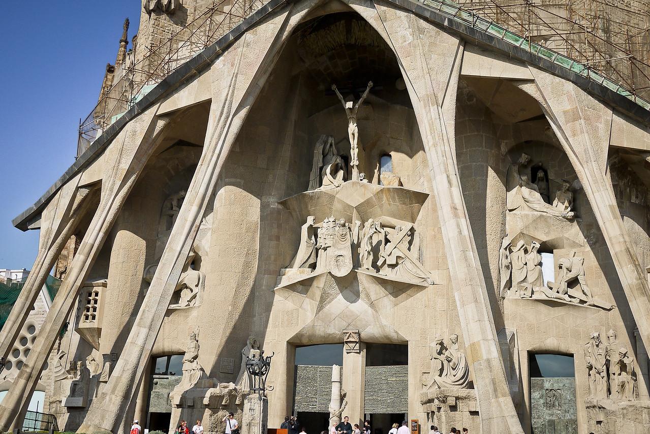 The Passion façade depicts the Passion of Jesus; La Sagrada Familia in Barcelona, Spain