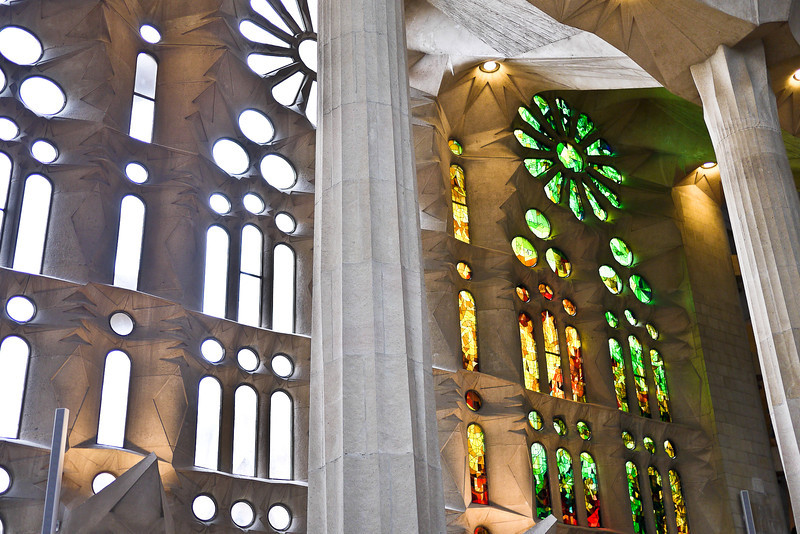 stained glass windows in the sagrada