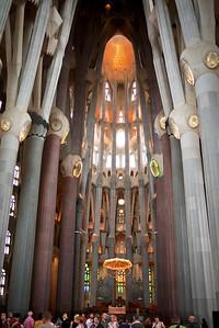 Inside La Sagrada Familia in Barcelona, Spain